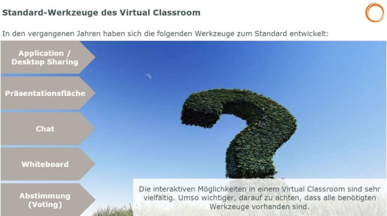Standard-Werkzeuge des Virtual Classroom: Desktop Sharing, Chat, Whitboard, Voting, Präsentationsfläche